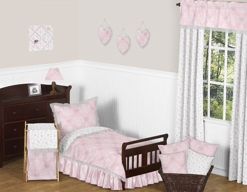 Pink and Gray Alexa Butterfly Toddler Bedding - 5pc Girls Set by Sweet Jojo Designs - Click to enlarge