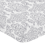 Fitted Crib Sheet for Avery Baby/Toddler Bedding by Sweet Jojo Designs - Damask Print