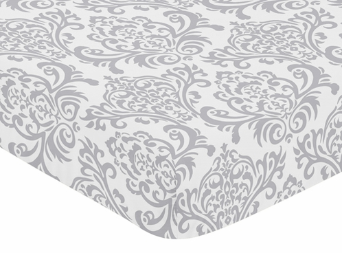 Fitted Crib Sheet for Avery Baby/Toddler Bedding by Sweet Jojo Designs - Damask Print - Click to enlarge