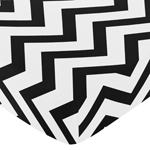 Fitted Crib Sheet for Black and White Chevron Baby/Toddler Bedding by Sweet Jojo Designs - Zig Zag Print
