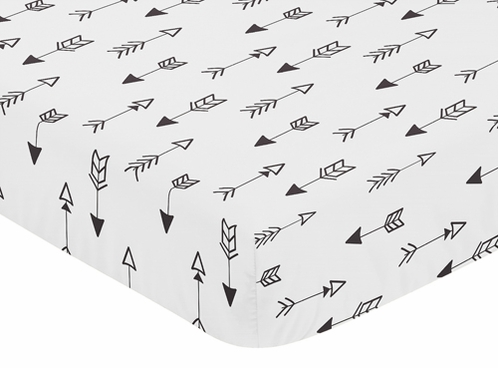 Fitted Crib Sheet For Black And White Fox Collection Babytoddler