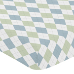 Fitted Crib Sheet for Blue and Green Argyle Baby and Toddler Bedding by Sweet Jojo Designs - Argyle