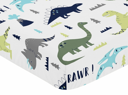 Fitted Crib Sheet For Blue And Green Mod Dinosaur Baby