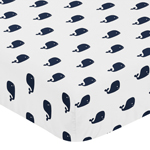 Fitted Crib Sheet for Blue Whale Baby/Toddler Bedding by Sweet Jojo Designs - Mini Whale Print