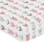 Fitted Crib Sheet for Coral, Mint and Grey Woodsy Baby/Toddler Bedding by Sweet Jojo Designs - Arrow Print