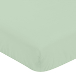 Fitted Crib Sheet for Coral, Mint and Grey Woodsy Baby/Toddler Bedding by Sweet Jojo Designs - Solid Mint