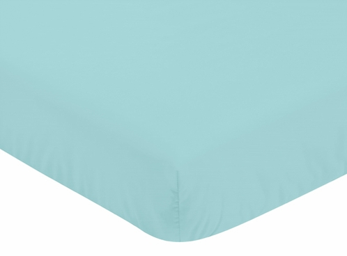 Fitted Crib Sheet for Emma Baby/Toddler Bedding by Sweet Jojo Designs - Turquoise - Click to enlarge