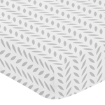 Fitted Crib Sheet for Forest Deer and Dandelion Baby/Toddler Bedding by Sweet Jojo Designs - Grey and White Leaf Print