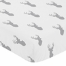 Fitted Crib Sheet for Grey and White Woodland Deer Baby/Toddler Bedding by Sweet Jojo Designs - Deer Print