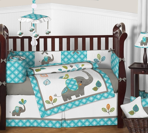 Mod Elephant Baby Bedding 9pc Crib Set By Sweet Jojo Designs Click To Enlarge