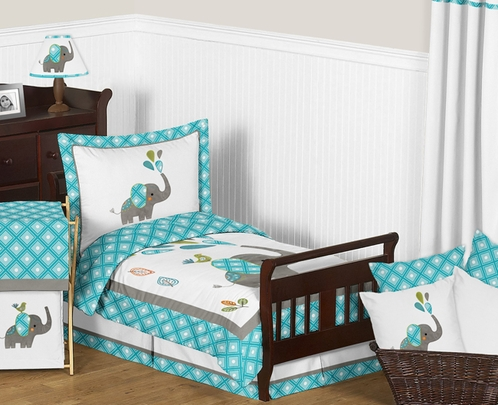 Mod Elephant Toddler Bedding - 5pc Set by Sweet Jojo Designs - Click to enlarge