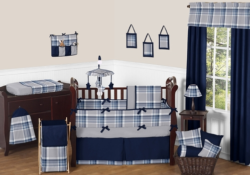 Navy Blue and Grey Plaid Boys Baby Bedding - 9pc Crib Set by Sweet Jojo Designs - Click to enlarge