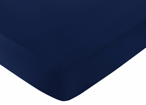 Fitted Crib Sheet for Navy and White Chevron Baby/Toddler Bedding by Sweet Jojo Designs - Solid Navy - Click to enlarge