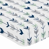Fitted Crib Sheet for Navy, Mint and Grey Woodsy Baby/Toddler Bedding by Sweet Jojo Designs - Arrow Print