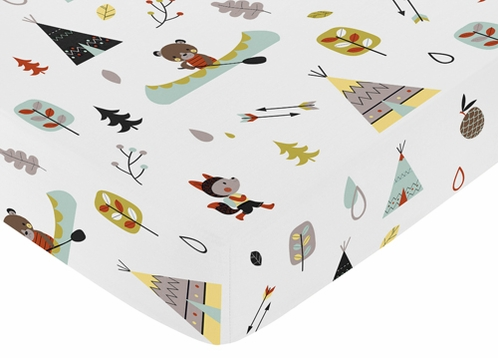 Fitted Crib Sheet for Outdoor Adventure Baby/Toddler Bedding by Sweet Jojo Designs - Adventure Print - Click to enlarge