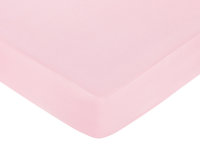 Fitted Crib Sheet for Pink and Taupe Elephant Baby/Toddler Bedding by Sweet Jojo Designs - Pink - Click to enlarge
