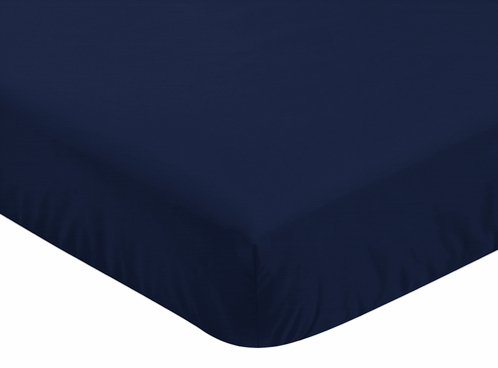 Fitted Crib Sheet for Plaid Baby and Toddler Bedding by Sweet Jojo Designs - Navy Blue - Click to enlarge