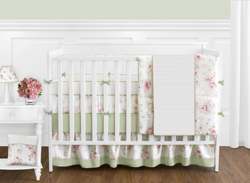 Riley's Roses Floral Baby Bedding - 9 pc Crib Set - Click to enlarge