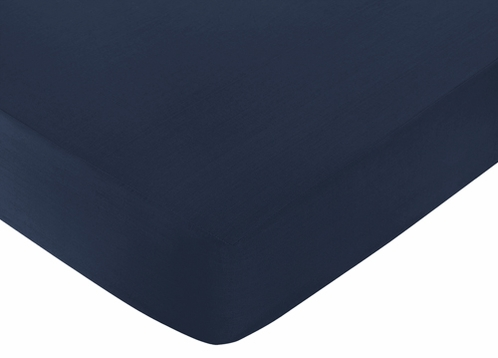 Fitted Crib Sheet for Robot Baby/Toddler Bedding by Sweet Jojo Designs - Dark Blue - Click to enlarge