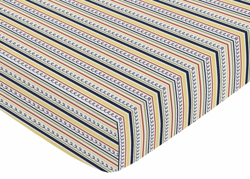 Fitted Crib Sheet for Robot Baby/Toddler Bedding by Sweet Jojo Designs - Stripe Print - Click to enlarge