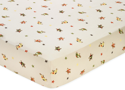 Fitted Crib Sheet for Sea Turtle Baby/Toddler Bedding by Sweet Jojo Designs - Mini Turtle Print - Click to enlarge