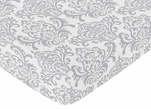 Fitted Crib Sheet for Skylar Baby/Toddler Bedding by Sweet Jojo Designs - Damask Print - Click to enlarge