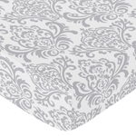 Fitted Crib Sheet for Skylar Baby/Toddler Bedding by Sweet Jojo Designs - Damask Print