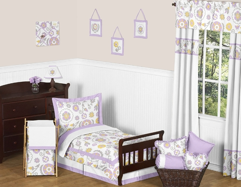 Lavender and White Suzanna Toddler Bedding - 5pc Set by Sweet Jojo Designs - Click to enlarge