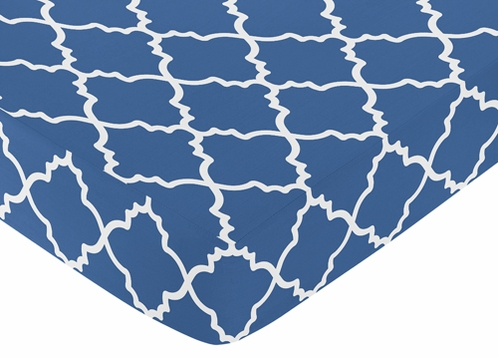 Fitted Crib Sheet for Trellis Baby/Toddler Bedding by Sweet Jojo Designs - Blue and White Print - Click to enlarge