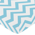 Fitted Crib Sheet for Turquoise and White Chevron Baby/Toddler Bedding by Sweet Jojo Designs - Zig Zag Print