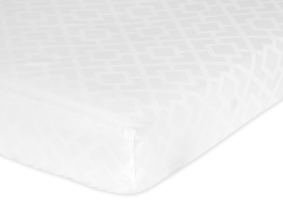 Fitted Crib Sheet for White Diamond Jacquard Modern Baby/Toddler Bedding by Sweet Jojo Designs - Jacquard - Click to enlarge