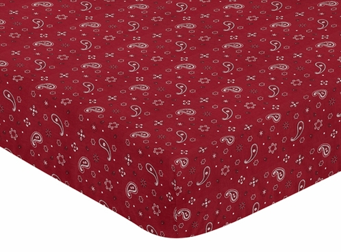 Fitted Crib Sheet for Wild West Cowboy Baby and Toddler Bedding sets by Sweet Jojo Designs - Bandana Print - Click to enlarge