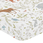 Fitted Crib Sheet for Woodland Animal Toile Baby/Toddler Bedding by Sweet Jojo Designs - Animal Print