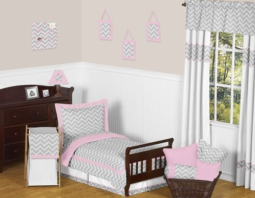 Pink and Gray Chevron Zig Zag Toddler Bedding - 5pc Set by Sweet Jojo Designs - Click to enlarge