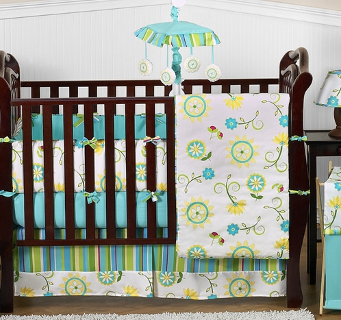 Turquoise and Lime Layla Girls Boutique Baby Bedding - 9pc Crib Set - Click to enlarge