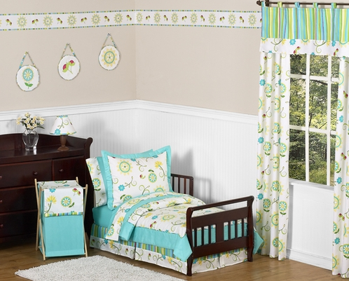 Turquoise and Lime Layla Girls Toddler Bedding - 5pc Set - Click to enlarge