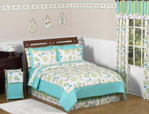 Turquoise and Lime Layla Girls Kids & Teen Bedding - 4pc Twin Set - Click to enlarge