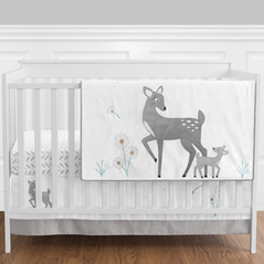 Forest Deer and Dandelion - 11 Piece Crib Bedding Set by Sweet Jojo Designs