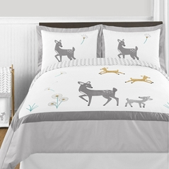Forest Deer and Dandelion 3pc Full / Queen Bedding Set by Sweet Jojo Designs