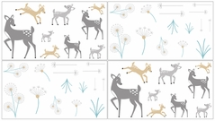 Forest Deer and Dandelion Baby, Childrens and Kids Wall Decal Stickers by Sweet Jojo Designs - Set of 4 Sheets