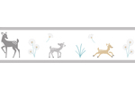 Forest Deer and Dandelion Kids and Baby Modern Wall Paper Border by Sweet Jojo Designs