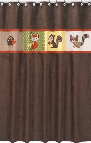 Forest Friends Kids Bathroom Fabric Bath Shower Curtain - Click to enlarge