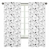 Fox Print Window Treatment Panels for Black and White Fox Collection by Sweet Jojo Designs - Set of 2