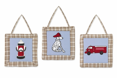 Frankie's Fire Truck Wall Hanging Art Decor 3 Piece Set - Click to enlarge