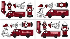 Frankie's Firetruck Baby and Kids Wall Decal Stickers - Set of 4 Sheets