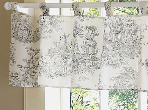 French Toile Black Window Valance - Click to enlarge