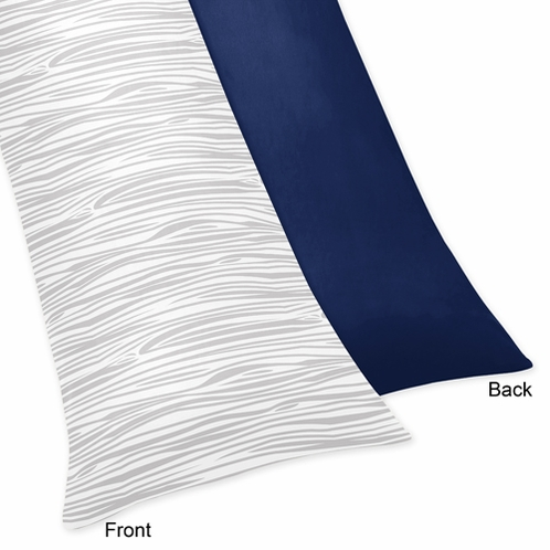 Full Length Double Zippered Body Pillow Case Cover for Navy, Mint and Grey Woodsy Bedding Collection by Sweet Jojo Designs - Click to enlarge