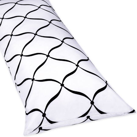 Full Length Double Zippered Body Pillow Cover for Green, Black and White Princess Bedding Set - Click to enlarge