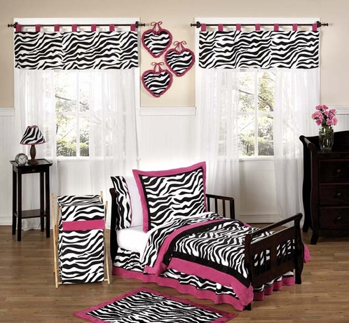 Funky zebra and hot pink toddler bedding 5pc set only for Hot pink bedroom set
