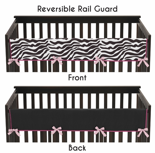 Funky Zebra Baby Crib Long Rail Guard Cover by Sweet Jojo Designs - Click to enlarge